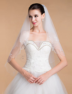 Two-tier Beaded Edge Wedding Veil Chapel Veils With 35.43 in (90cm) Tulle