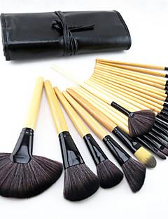 halpa -24-osainen ponin harjasta ammattilaisten meikkisivellinsetti puukahvalla puuterille/peitevoiteelle sekä silmämeikille ja huulille, mukana