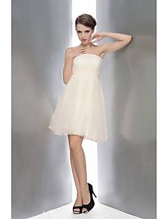 levne Krátké družičkovské šaty-a-line strapless kolenní délka šifón krajka družička šaty s záhyby by sbl