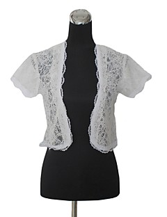Short Sleeves Lace Wedding Party Evening Wedding  Wraps With Lace Coats / Jackets