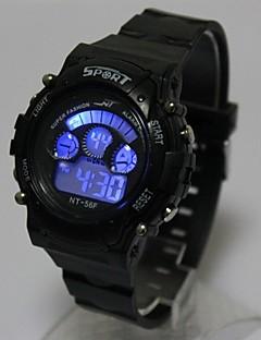 Barn Moteklokke Armbåndsur Digital Watch Quartz Digital LED Silikon Band Svart