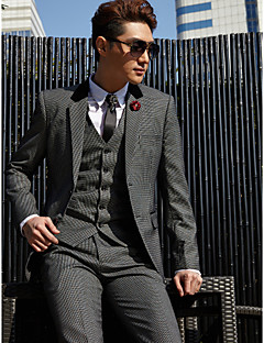 Tuxedos Tailored Fit Slim Notch Single Breasted Two-buttons Cotton Polyester Checkered 3 Pieces