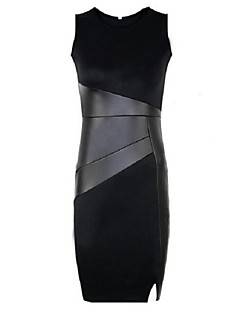 Damen Kleid Patchwork Knielang Polyester Rundhalsausschnitt
