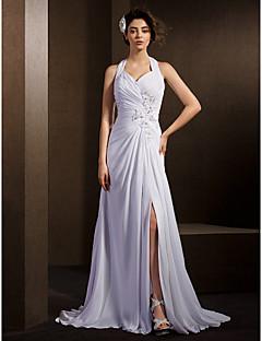 olcso -A-vonalú Pánt Udvari uszály Sifon Esküvői ruha val vel Gyöngydíszítés Rátétek Csokor Cakkos Ráncolt által LAN TING BRIDE®