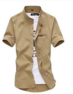 billige Herrers Moteklær-Bomull Skjorte Herre - Ensfarget / Kortermet