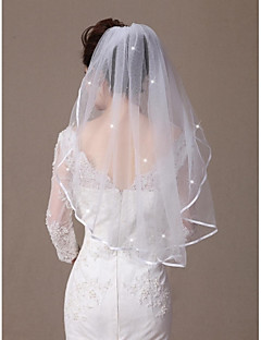 One-tier Ribbon Edge Beaded Edge Wedding Veil Elbow Veils With Scattered Crystals Style 31.5 in (80cm) Tulle