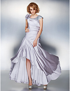 cheap Mother of the Bride Dresses-A-Line Scoop Neck Asymmetrical Satin Chiffon Mother of the Bride Dress with Sequin Flower Side Draping by LAN TING BRIDE®