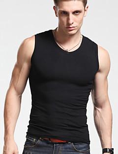 Men's Plus Size Solid Black/Gray/White Vest,Sexy Slimming Round Neck Sleeveless