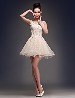A-Line Princess Fit & Flare Illusion Neckline Short / Mini Satin Tulle Cocktail Party Homecoming Dress with Beading Appliques Lace by CHQY