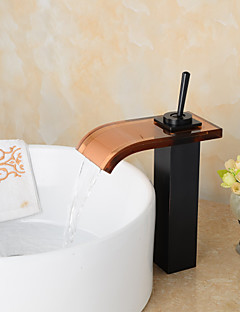 Moderní Umyvadlo na desku Vodopád Keramický ventil S jedním otvorem Single Handle jeden otvor Olejem leštěný bronz