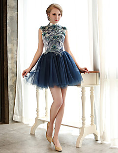 A-Line High Neck Short / Mini Lace Tulle Cocktail Party Homecoming Dress with Beading Flower(s) Sequins by CHQY