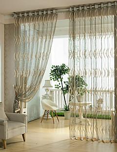 Et panel Window Treatment Rustikk Moderne Neoklassisk Europeisk Designer , Stribe Soverom Polyester Materiale Gardiner Skygge Hjem Dekor