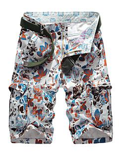 男性 ストレート スリム プラスサイズ チノパン ショーツ パンツ,カジュアル/普段着 ビーチ スポーツ ビンテージ ストリートファッション 活発的 プリント カモフラージュ 刺繍 ローライズ ジッパ- ボタン コットン マイクロ弾性 夏