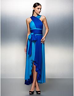 billige Mønstrede og ensfargede kjoler-A-linje V-hals Asymmetrisk Jersey Skoleball / Formell kveld Kjole med Belte / bånd Plissert av TS Couture®