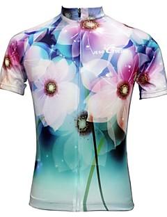 billige Sykkelklær-JESOCYCLING Dame Kortermet Sykkeljersey Blomster / botanikk Sykkel Jersey, Fort Tørring, Ultraviolet Motstandsdyktig, Pustende / Elastisk