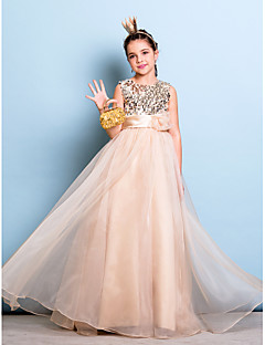 cheap Junior Bridesmaid Dresses-A-Line Jewel Neck Floor Length Organza Sequined Junior Bridesmaid Dress with Sequin Sash / Ribbon Flower by LAN TING BRIDE®