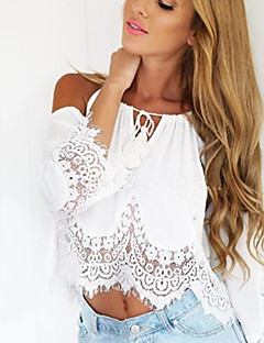 Women's Vintage/Sexy/Beach/Casual/Lace/Cute/Party Off-the-shoulder/Round Long Sleeve T-Shirts (Lace)