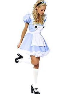 billige Halloweenkostymer-Prinsesse Eventyr Cosplay Kostumer Party-kostyme Kvinnelig Halloween Karneval Festival / høytid Halloween-kostymer Blå/Hvit Lapper