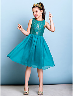 A-Line Jewel Neck Knee Length Chiffon Sequined Junior Bridesmaid Dress with Sequins by LAN TING BRIDE®