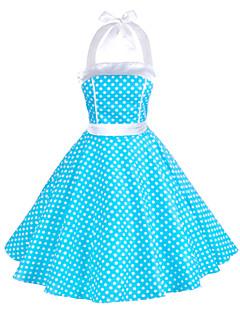 Χαμηλού Κόστους Polka Dot Dresses-Γυναικεία Γραμμή Α Skater Φόρεμα - Πουά, Με Βολάν Δένει στο Λαιμό
