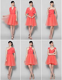 billige Romantisk rosa-A-linje V-hals / Stroppeløs / Grime Knelang Chiffon Brudepikekjole med av / Konvertibel kjole