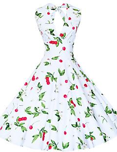 お買い得  レディースドレス-女性用 ヴィンテージ ルーズ シース フレア ドレス - フラワー プリント, フラワー 膝丈 ホルター ディープVネック