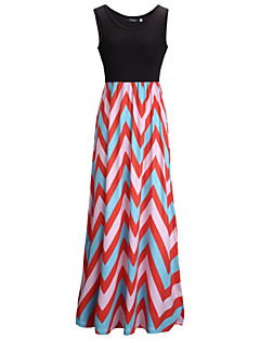 Χαμηλού Κόστους Stripes & checks-Γυναικεία Παντελόνι - Ριγέ / Συνδυασμός Χρωμάτων Πλισέ Μαύρο / Πάρτι / Μακρύ / Τιράντες / Λαιμόκοψη U
