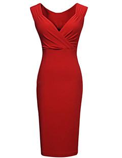 Для женщин Для вечеринок Секси Облегающий силуэт Платье Однотонный,Глубокий V-образный вырез До колена Без рукавов Полиэстер Лето С