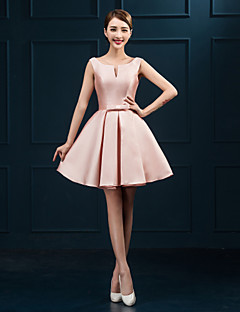 Cocktail Party Dress Ball Gown Scoop Short / Mini Satin with Sash / Ribbon