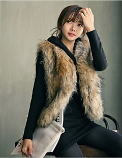 cheap Women's Furs & Leathers-Women's Faux Fur Vest-Solid Color
