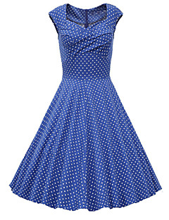 Women's Going out Vintage A Line Dress,Polka Dot Sweetheart Knee-length Short Sleeves Cotton Polyester Others Spring Summer Fall Mid Rise