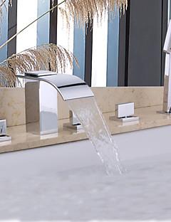 billige Sidesray-Badekarskran - Moderne Krom Badekar Og Dusj Keramisk Ventil / Messing / To Håndtak fem hull