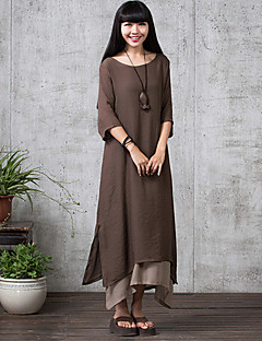 Women's Casual Micro-elastic ½ Length Sleeve Maxi Dress (Linen) (More Colors)