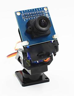 Χαμηλού Κόστους Ρομπότ & Αξεσουάρ-2-άξονα της κεφαλής λίκνο της κάμερας FPV + ov7670 σύνολο της κάμερας για το ρομπότ / r / c αυτοκινήτου - μαύρο + μπλε