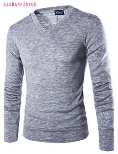 billige Herremote og klær-Herre Klassisk & Tidløs Pullover - Ensfarget, Moderne Stil