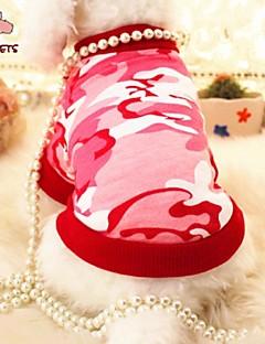 billiga Hundkläder-Katt Hund T-shirt Hundkläder Pärla Röd Blå Cotton Kostym För husdjur Cosplay Bröllop