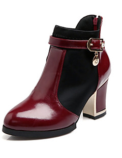 Kadın Ayakkabı Patentli Deri Sonbahar Kış Kalın Topuk Bootiler/ Bilek Botları Fermuar Uyumluluk Günlük Elbise Beyaz Siyah Kırmızı Şarap
