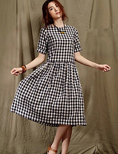 Women's Vintage Casual Micro Elastic Short Sleeve Midi Dress (Others)