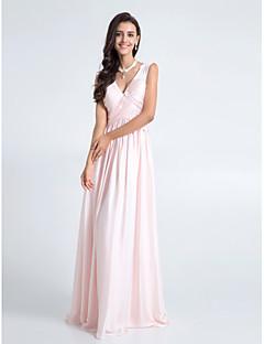 billige Romantisk rosa-Tube / kolonne V-hals Gulvlang Chiffon Brudepikekjole med Kryssdrapering av LAN TING BRIDE®
