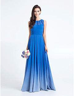 Sheath / Column Scoop Neck Floor Length Chiffon Bridesmaid Dress with Ruching by LAN TING BRIDE®