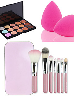 15 väriä kasvojen edessä ääriviivat peitevoide kerma paletti + 7pcs vaaleanpunainen laatikko meikki harjat asettaa kit + puuterihuisku