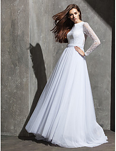 billiga A-linjeformade brudklänningar-A-linje Prydd med juveler Svepsläp Tyll / Spetslivstycke Bröllopsklänningar tillverkade med Bälte / band / Knapp av LAN TING BRIDE® / Genomskinliga