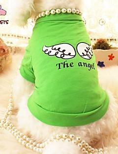 billiga Hundkläder-Katt Hund T-shirt Hundkläder Ängel & Djävul Purpur Grön Cotton Kostym För husdjur Cosplay Bröllop