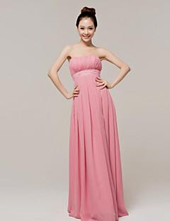 Χαμηλού Κόστους Μακριά Φορέματα Παρανύμφων-Γραμμή Α Στράπλες Μακρύ Σιφόν Φόρεμα Παρανύμφων με Ζώνη / Κορδέλα με LAN TING Express