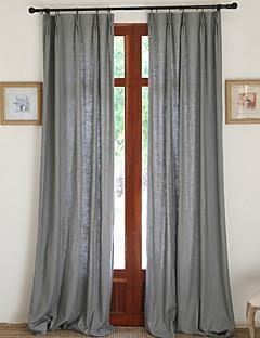 İki Panel Pencere Tedavi Ülke / Modern / Neoklasik / Avrupa / Tasarımcı , Tek Renk Yatakodası Linen / Pamuk Karışımı MalzemePerdeler