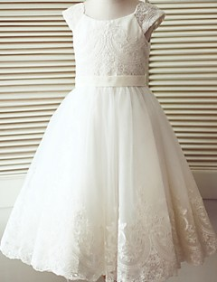 A-Line Tea Length Flower Girl Dress - Lace Tulle Short Sleeves Scoop Neck with Buttons by LAN TING BRIDE®