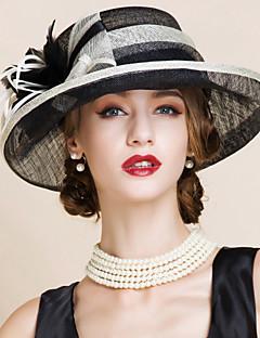 お買い得  ファッション帽子-女性用 パーティー リネン ボーラーハット
