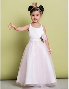tanie Sukienki dla dziewczynek z kwiatami-Krój A Do kostki Sukienka dla dziewczynki z kwiatami - Tiul Bez rękawów Łódeczka z Kwiat przez LAN TING BRIDE®