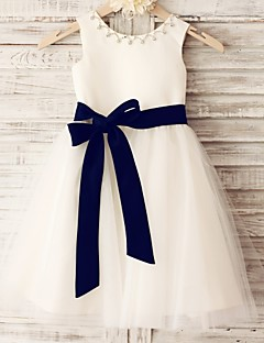 cheap Flower Girl Dresses-Princess Knee Length Flower Girl Dress - Satin Tulle Sleeveless Scoop Neck with Beading Sash / Ribbon by LAN TING BRIDE®