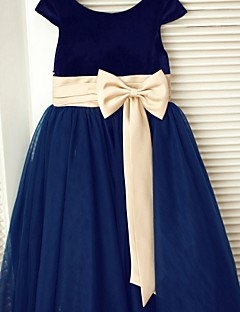 - ラインの茶色の長さの花の女の子のドレス - チュールのベルベットのスクープネックthstylee